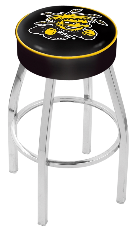 """Wichita State Shockers (L8C1) 25"""" Tall Logo Bar Stool by Holland Bar Stool Company (with Single Ring Swivel Chrome Solid Welded Base)"""