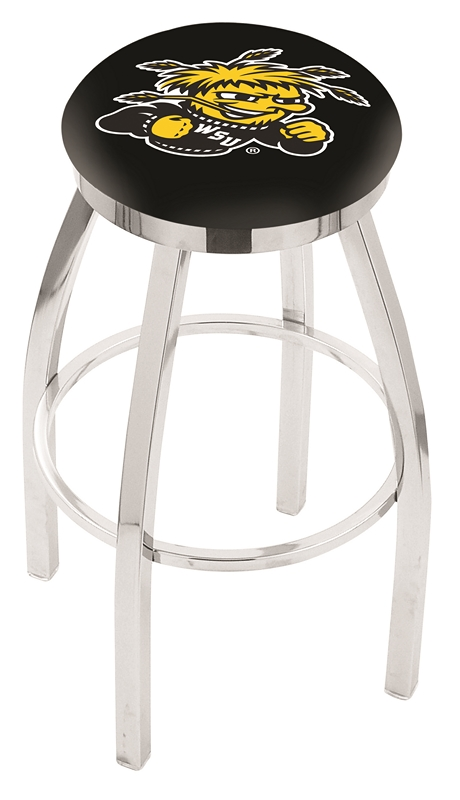 "Wichita State Shockers (L8C2C) 25"" Tall Logo Bar Stool by Holland Bar Stool Company (with Single Ring Swivel Chrome Solid Welded Base)"