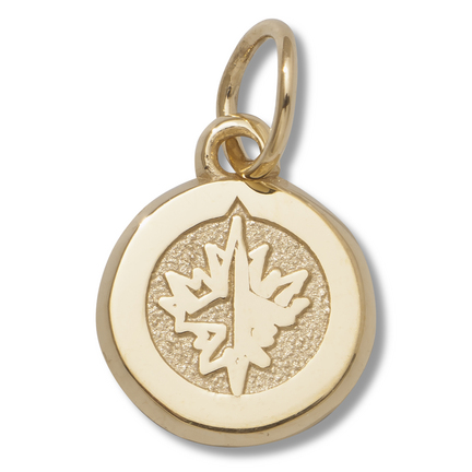 "Winnipeg Jets 3/8"" Primary Logo Charm - 14KT Gold Jewelry"