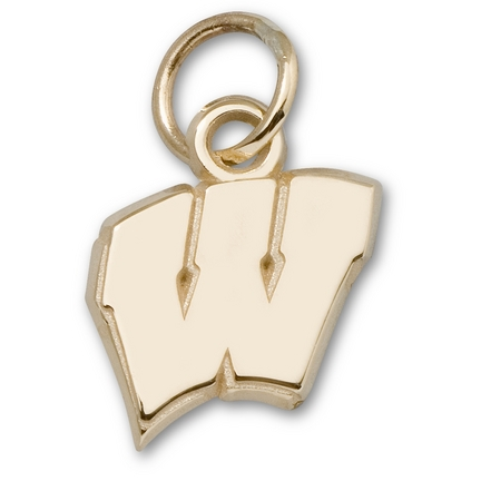 """Wisconsin Badgers 3/8"""" New Motion """"W"""" Charm - 14KT Gold Jewelry"""
