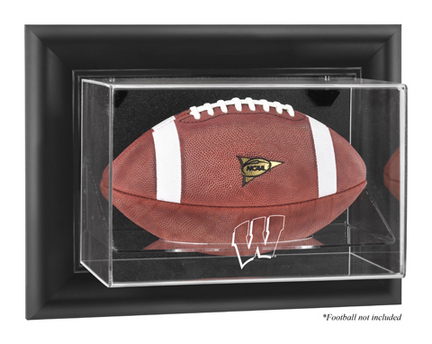 Wisconsin Badgers Black Framed Wall Mountable Logo Football Display Case