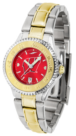 Wisconsin Badgers Competitor AnoChrome Ladies Watch with Two-Tone Band