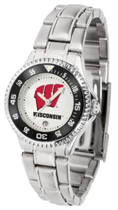 Wisconsin Badgers Competitor Ladies Watch with Steel Band