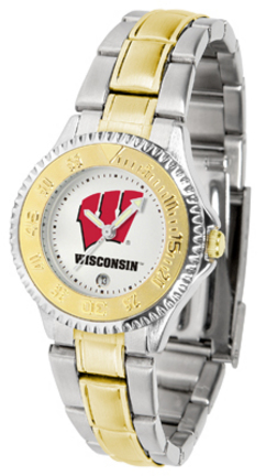 Wisconsin Badgers Competitor Ladies Watch with Two-Tone Band