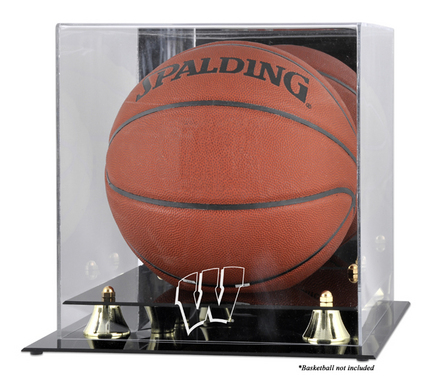 Wisconsin Badgers Golden Classic Logo Basketball Display Case with Mirror Back