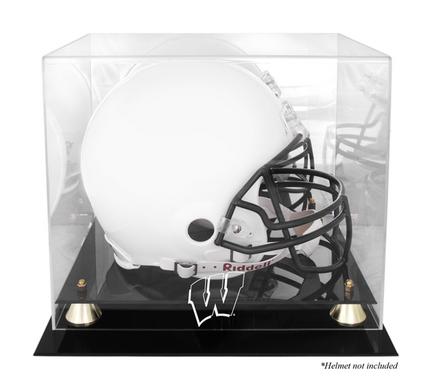Wisconsin Badgers Golden Classic Logo Football Helmet Display Case with Mirror Back