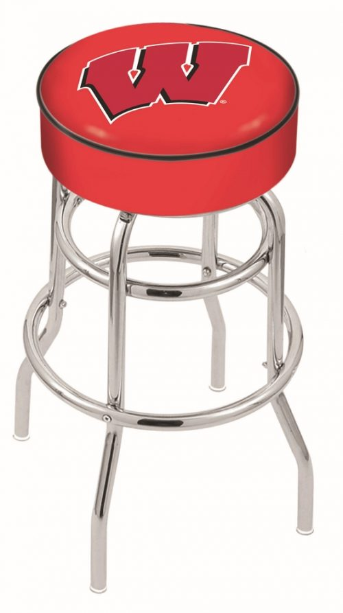 "Wisconsin Badgers (L7C1) 30"" Tall Logo Bar Stool by Holland Bar Stool Company (with Double Ring Swivel Chrome Base)"