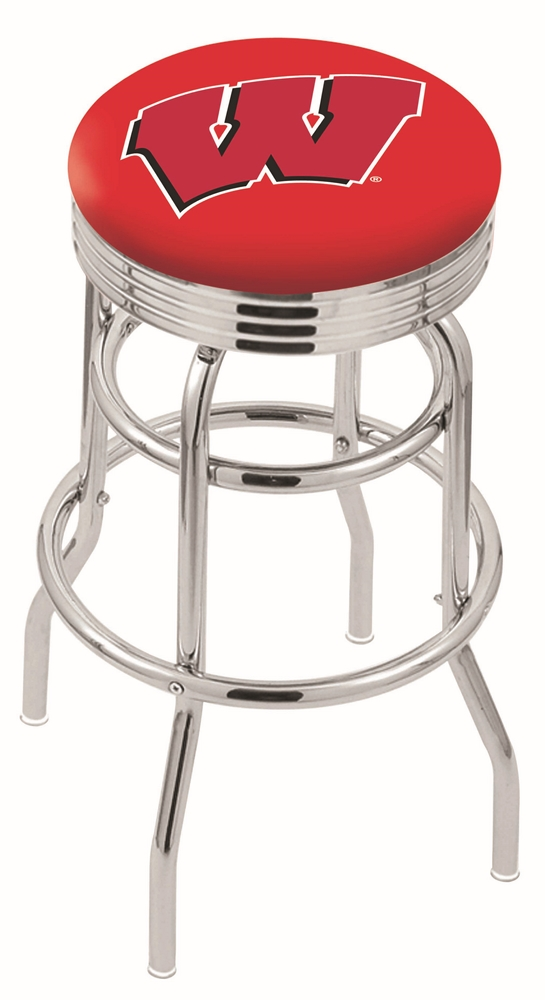 """Wisconsin Badgers (L7C3C) 25"""" Tall Logo Bar Stool by Holland Bar Stool Company (with Double Ring Swivel Chrome Base)"""