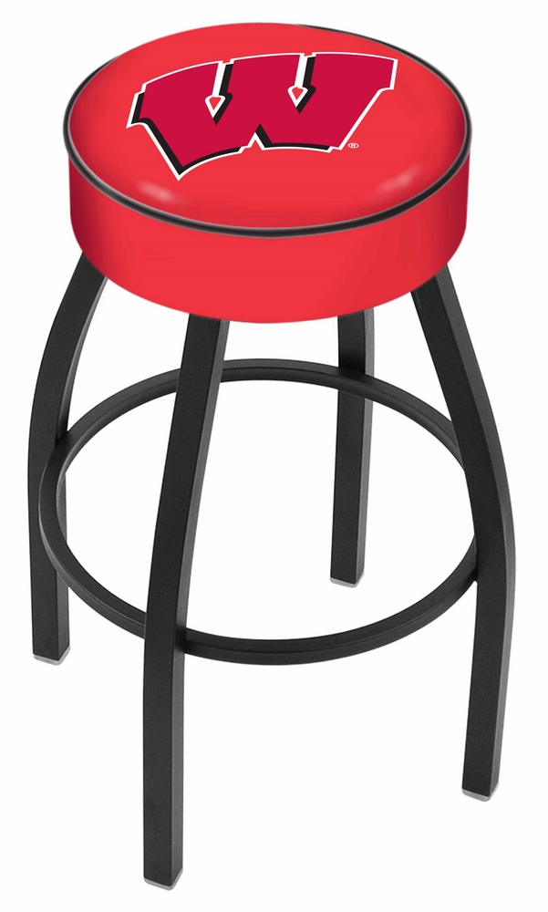"Wisconsin Badgers (L8B1) 30"" Tall Logo Bar Stool by Holland Bar Stool Company (with Single Ring Swivel Black Solid Welded Base)"