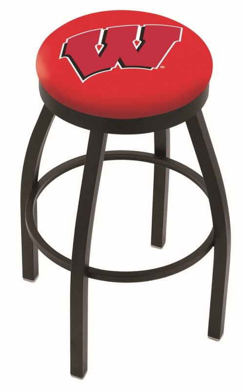 """Wisconsin Badgers (L8B2B) 30"""" Tall Logo Bar Stool by Holland Bar Stool Company (with Single Ring Swivel Black Solid Welded Base)"""