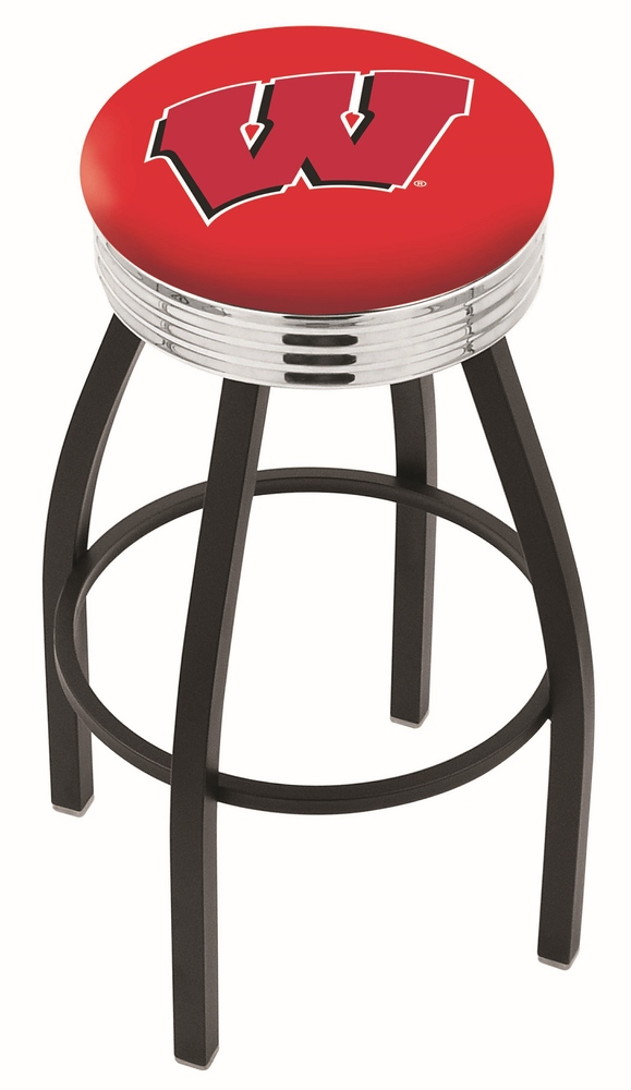 """Wisconsin Badgers (L8B3C) 25"""" Tall Logo Bar Stool by Holland Bar Stool Company (with Single Ring Swivel Black Solid Welded Base)"""