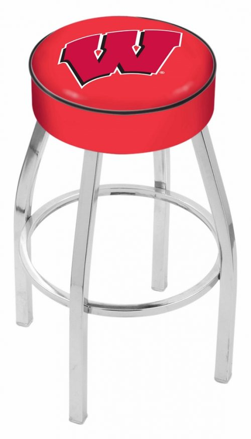 "Wisconsin Badgers (L8C1) 30"" Tall Logo Bar Stool by Holland Bar Stool Company (with Single Ring Swivel Chrome Solid Welded Base)"