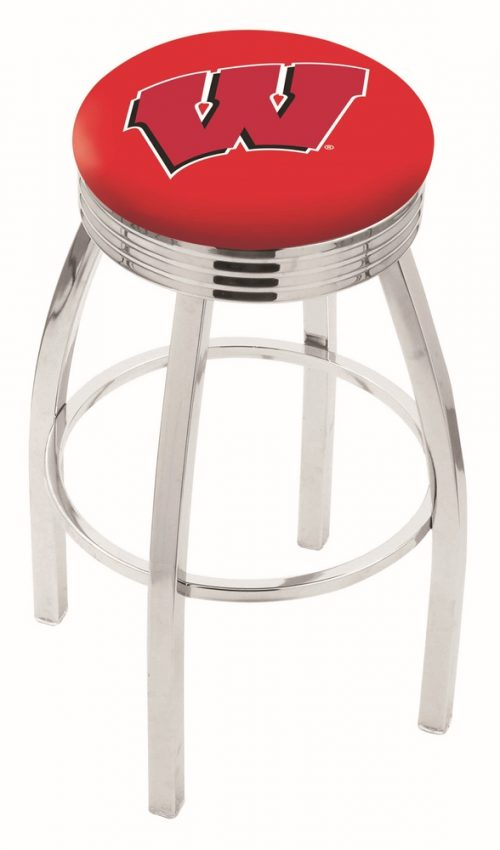 """Wisconsin Badgers (L8C3C) 25"""" Tall Logo Bar Stool by Holland Bar Stool Company (with Single Ring Swivel Chrome Solid Welded Base)"""