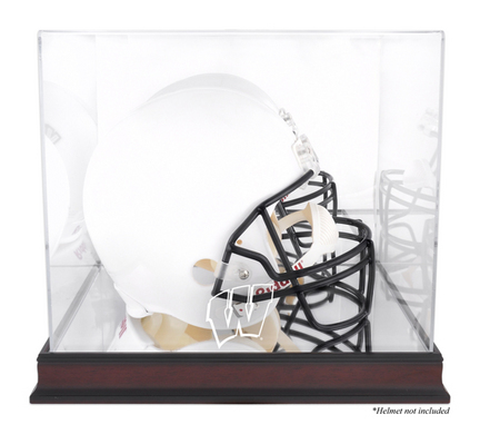 Wisconsin Badgers Mahogany Logo Football Helmet Display Case with Mirror Back