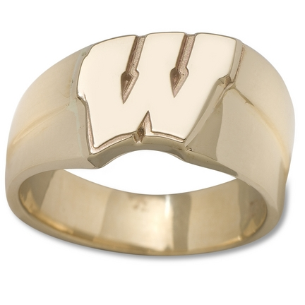 "Wisconsin Badgers New Motion ""W"" 1/2"" Men's Ring (Size 10 1/2) - Gold Plated Jewelry"