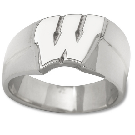 "Wisconsin Badgers New Motion ""W"" 1/2"" Men's Ring (Size 10 1/2) - Sterling Silver Jewelry"