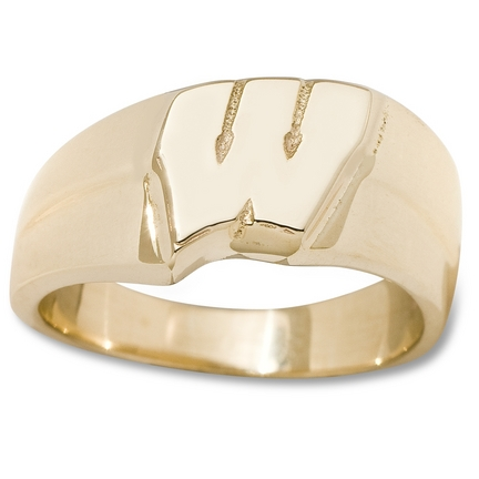 "Wisconsin Badgers New Motion ""W"" 3/8"" Ladies' Ring (Size 6 1/2) - Gold Plated Jewelry"
