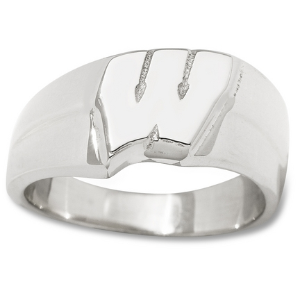 "Wisconsin Badgers New Motion ""W"" 3/8"" Ladies' Ring (Size 6 1/2) - Sterling Silver Jewelry"