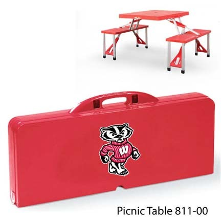 Wisconsin Badgers Portable Folding Table and Seats