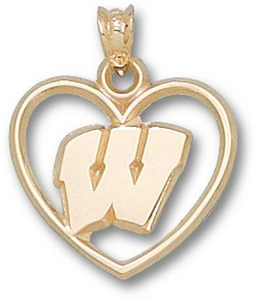 "Wisconsin Badgers ""W"" Heart Pendant - 10KT Gold Jewelry"