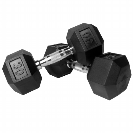 XMark Pair of 30 lb. Rubber Hex Dumbbells XM-3301-30-P