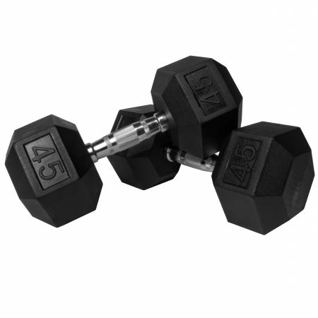 XMark Pair of 45 lb. Rubber Hex Dumbbells XM-3301-45-P
