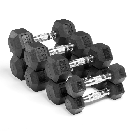 Xmark Fitness XM-3301-520-B Premium Quality 4 Pair Rubber Coated Hex Dumbbells Set 100 lbs