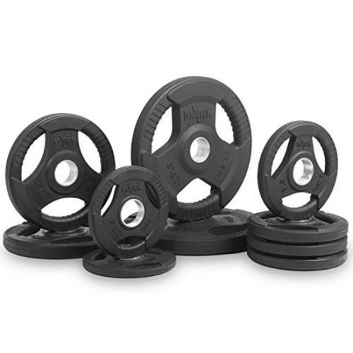 Xmark Fitness XM-3377-BAL-95 Premium Quality Premium Quality Rubber Coated Tri-Grip Olympic Plate Weights Set - 95 lbs