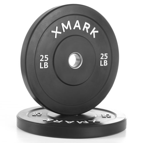 Xmark Fitness XM-3385-25-P 25 lbs. Bumper Plates with Stainless Steel Inserts