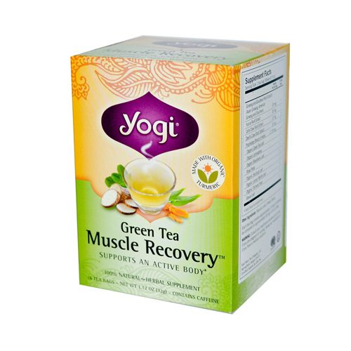 Yogi Muscle Recovery Herbal Tea Green Tea - 16 Tea Bags Case Of 6