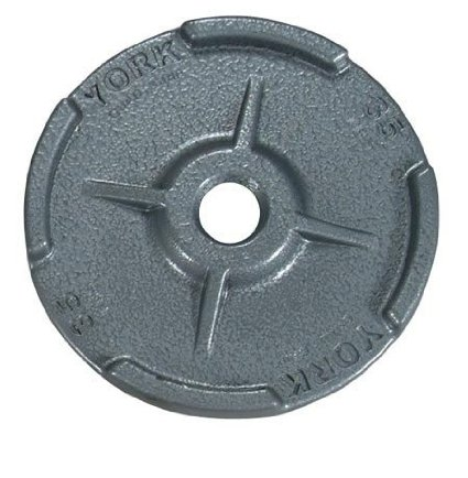 York Barbell 29003 Quad Grip Dual Flange Cast Iron Olympic Plates Grey - 25 lbs