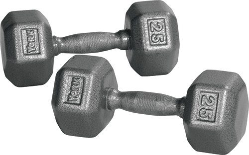 York Barbell 34015 Pro Hex Dumbbell with Cast Ergo Handle Grey - 55 lbs