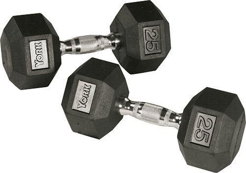 York Barbell 34069 Rubber Hex Dumbbell with Chrome Ergo Handle - 70 lbs
