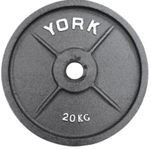 York Barbell 7375 Uncalibrated Standard Kilo Olympic Plate - 20 kg