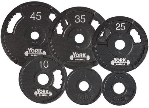 York Barbell 7425 G2 Olympic Dual Grip Thin Line Cast Iron Plate Black - 45 lbs