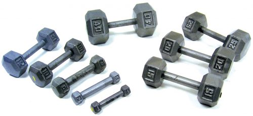 YorkBarbell 3476 65lbs Cast Iron Hex Dumbbell
