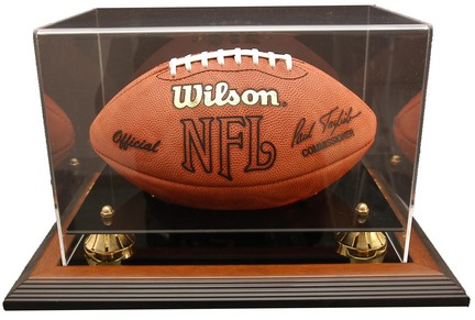"Zenith"" Football Display Case with Gold Risers, Black Acrylic and Brown Wood Base"