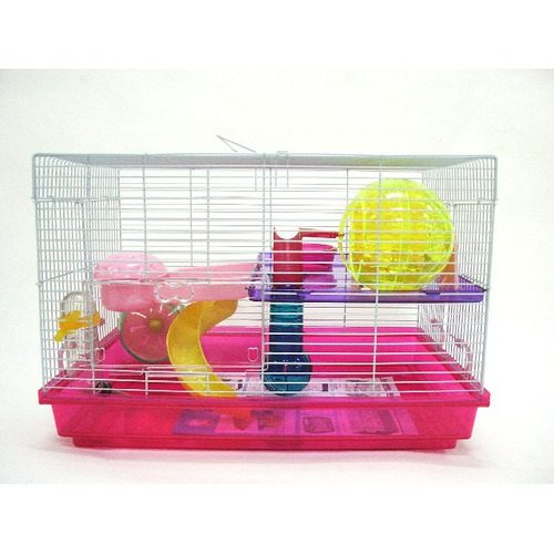 12 in. Clear Plastic Hamster-Mice Cage in Pink