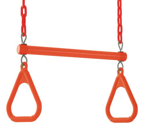 18 x 2 x 10 in. Trapeze Swing Bar with Vinyl Coated Chain Orange