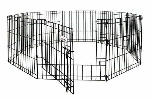 48 x 24 in. Exercise Pen with Door Black