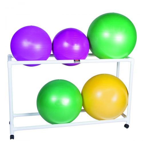 62 x 20 x 72 in. Inflatable Exercise Ball Accessory with PVC Stationary Floor Rack & 2 Shelf