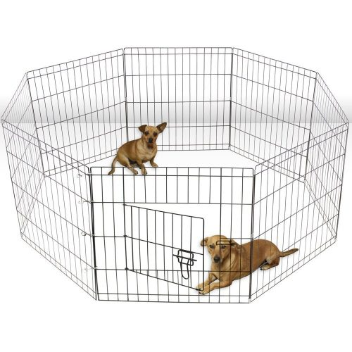 Aleko SDK-24B-UNB 24 in. 8 Panel Dog Playpen Pet Kennel Pen Exercise Cage Fence Black