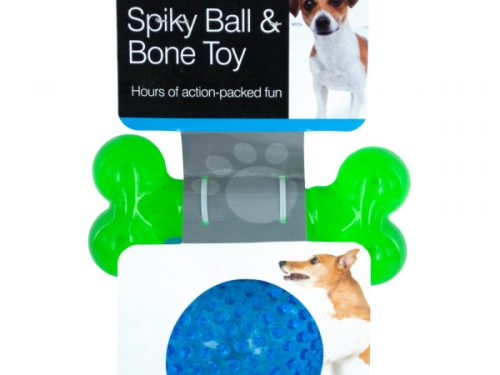 Bulk Buys OF882-12 Spiky Ball & Bone Dog Toy Set - 12 Piece