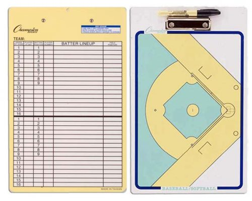 Champion Sports 13162 10 x 16 in. Baseball & Softball Double Sided Dry Ease Coaching Board