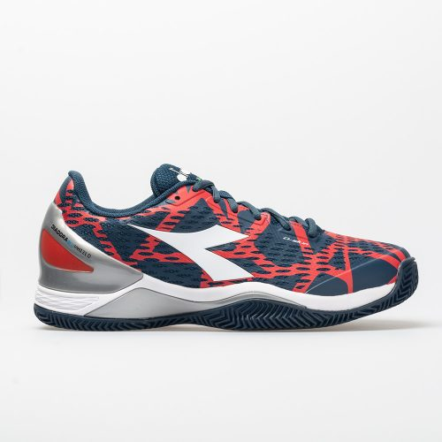Diadora Speed Blushield 2 Clay: Diadora Men's Tennis Shoes Dark Blue/Red Capital