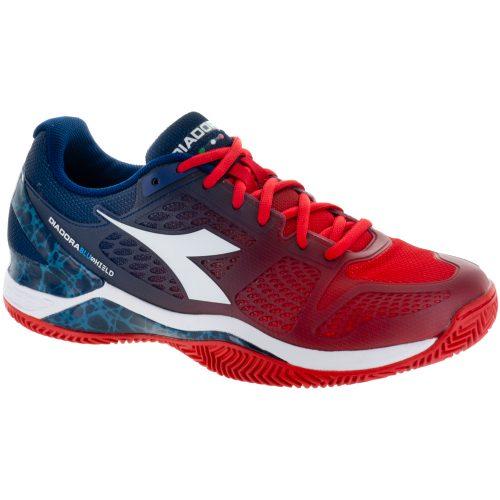Diadora Speed Blushield Clay: Diadora Men's Tennis Shoes Fiery Red/Blue Estate/White