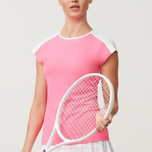 Fila Windowpane Cap Sleeve Top: Fila Women's Tennis Apparel