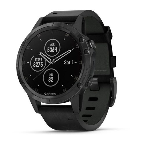 Garmin fenix 5 Plus Sapphire Black/Black Leather: Garmin Heart Rate Monitors