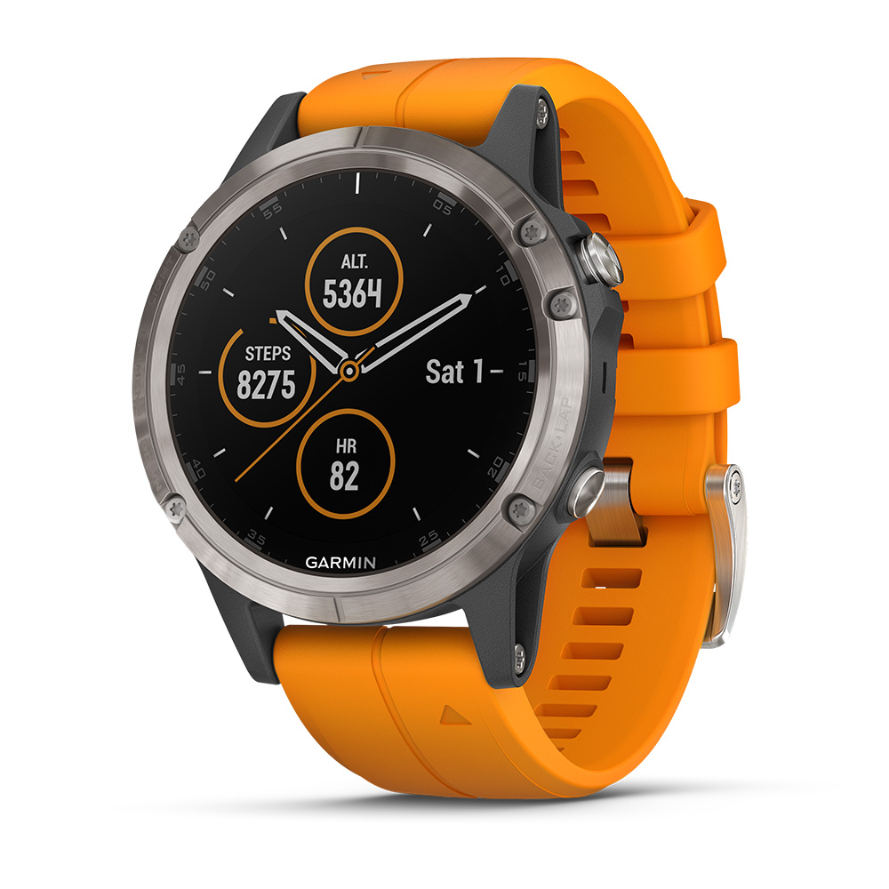 Garmin fenix 5 Plus Sapphire Titanium/Spark Orange: Garmin Heart Rate Monitors