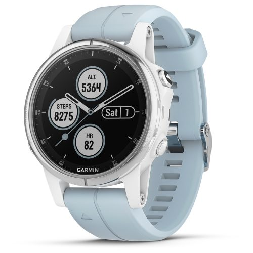 Garmin fenix 5S Plus Glass White with Sea Foam Band: Garmin Heart Rate Monitors